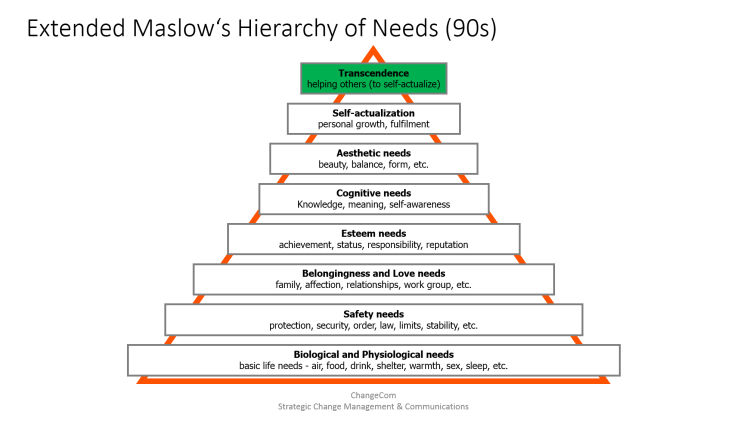 Hierarchy of Needs Pyramid in its extended 90s Version